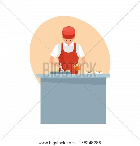 Staff set of sellers. Seller, man in branded clothes is preparing fast food and burgers behind the counter of restaurant, cafe. Modern vector illustration isolated on white background.