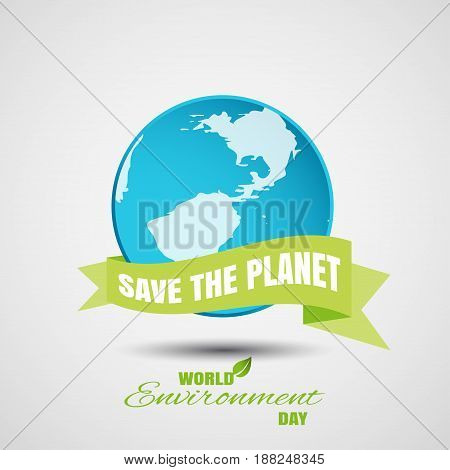 Vector poster of World Environment Day on the gradient gray background with blue globe shadow and text.