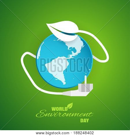 Vector greeting paper craft of World Environment Day on the gradient green background with blue globe electric cord with leaf and plug shadow and text.