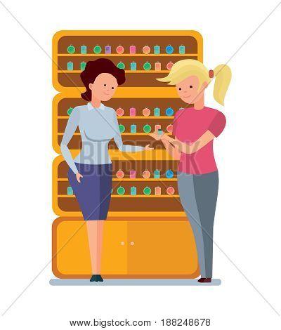 Staff set of sellers. The girl is a seller of perfumes, offers options, and demonstrates a variety of perfume to her client. Modern vector illustration isolated on white background.
