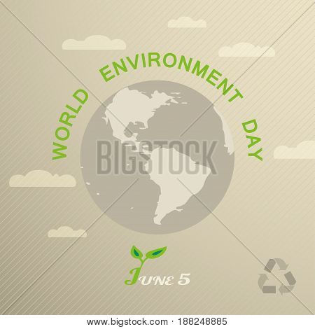 Vector greeting poster of World Environment Day with globe silhouette clouds and text on the gradient brown background with line pattern.