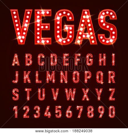 Retro Volumetric Signboard Letters with Red Light Bulbs