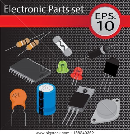 Electronic Parts set, flat design, vector illustration.