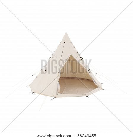 Bell Dome Tent Isolated on White Background. Orange Dome Tent on Clipping Path. Camping Tent. Alpine Tent. Camping Equipment