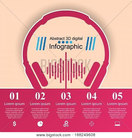 Abstract 3D digital illustration Infographic. Music icon.