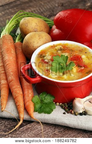 Barley And Vegetable Thick Healthy Soup. Krupnik Thick Polish So