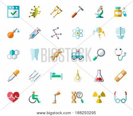 Medicine color icons, vector. Medical services specialization. The profession of doctors. Medical instruments. Colored flat icons on white background.