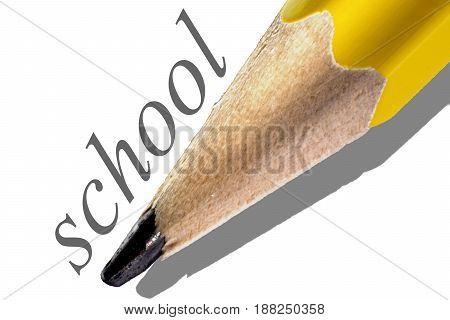 Macro pencil graphite on a white background