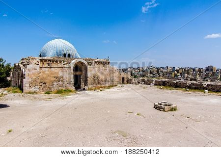 The Umayyad Palace located on the Citadel Hill of Amman Jordan.