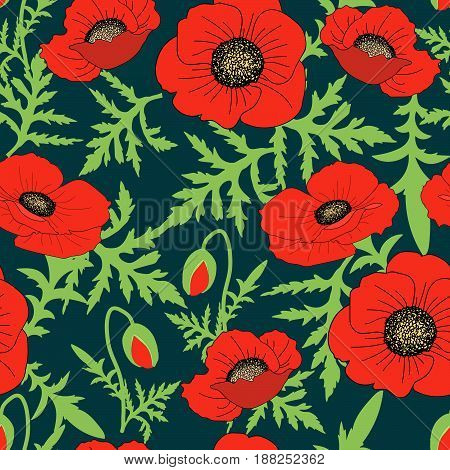 Seamless floral botanical pattern hand drawn realistic poppy flowers green leaves buds dark background exquisite feminine style calico fabric wallpaper quilting scrapbooking unique design