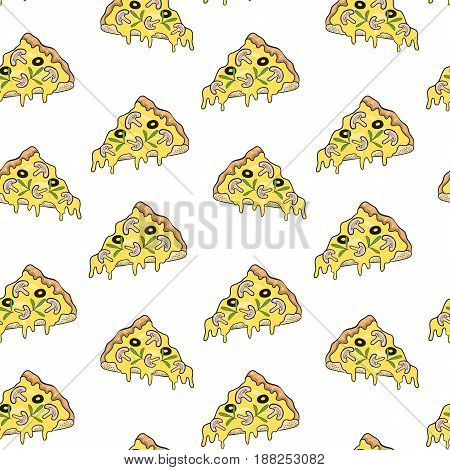 Pizza seamless pattern on white background background. Vector illustration.