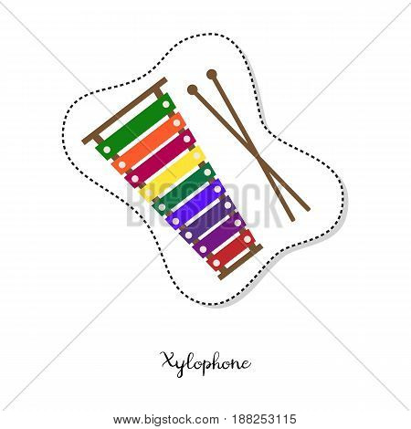 Cartoon sticker with xylophone on white background. Vector illustration.