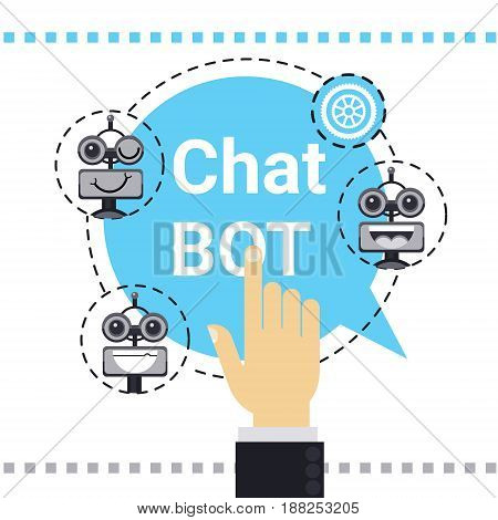 Man Use Free Chat Bot, Robot Virtual Assistance Element Of Website Or Mobile Applications, Artificial Intelligence Concept Vector Illustration