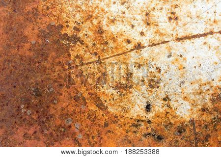 Texture of old metal with worn white paint and rust, vintage, background