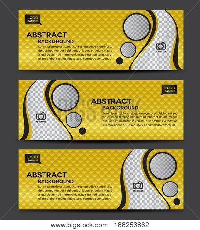 Gold Banner template vector Horizontal header advertisement business flyer layout