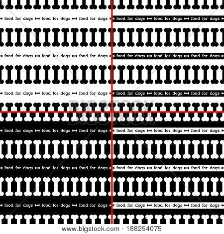 set of seamless pattern with black and white bone for dog. vector