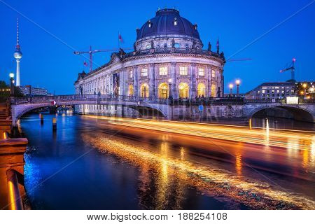 the bode museum at night, berlin, germany