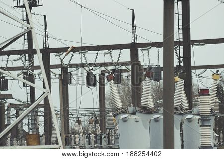 High voltage electric power production and electrical substation.