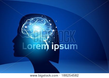 Female Brain Neurons Activity Medicine Thinking Intelligence Concept Banner With Copy Space Flat Vector Illustration