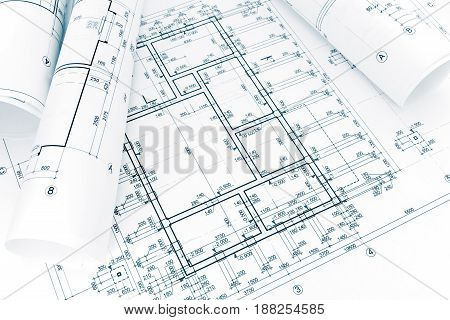 Rolls Of Architectural Project Plans And Blueprints