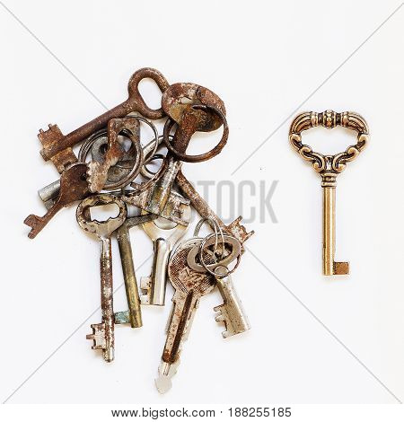 Different keys pile of rusty old and one new shiny on white background