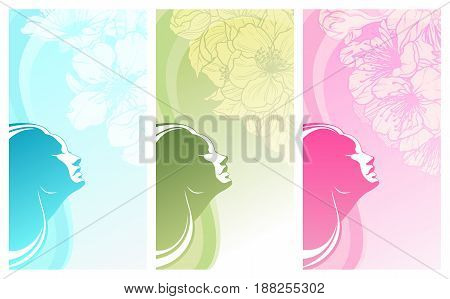 Vector set of beauty salon, cosmetics, spa banners labels cards design. Beautiful woman silhouette on color background with linear illustration of spring flowers