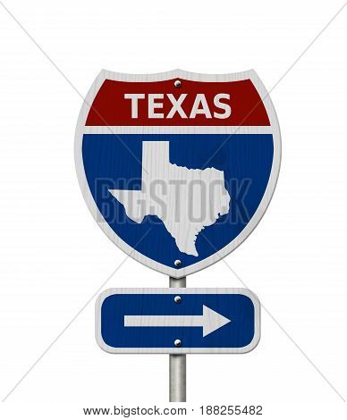 Road trip to Texas Red white and blue interstate highway road sign with word Texas and map of Texas isolated over white 3D Illustration