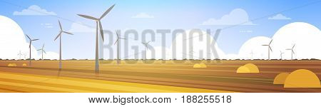 Wind Turbine Tower In Field Blue Sky Alternative Energy Source Technology Flat Vector Illustration