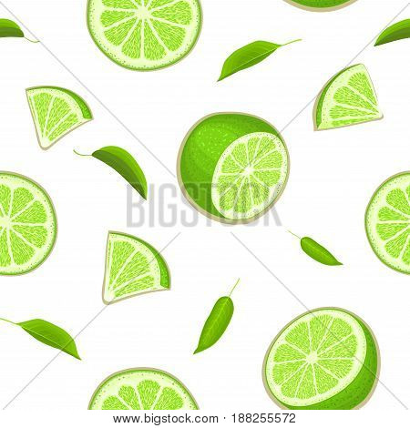 Ripe juicy tropical lime background. Vector card illustration. Fresh citrus green lemon fruit peeled, piece of half, slice, leaf. Seamless pattern for packaging design healthy food diet juce, detox, tea