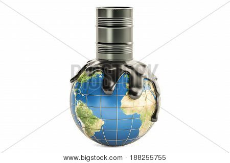 Barrel with crude oil spilled on the Earth globe oil production concept. 3D rendering isolated on the white background
