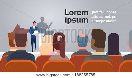 Business People Group at Conference Meeting Training Courses Speaker Standing At Tribune Flat Vector Illustration