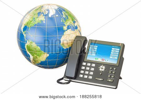 Global communication concept. IP phone with Earth globe 3D rendering isolated on white background
