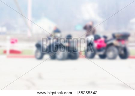 Blurred background can be an illustration to an article about ATVs caravanning traveling and active recreation