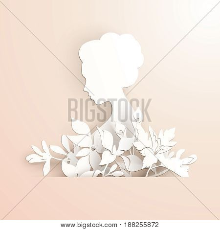 Template with elegant lady profile with flowers in paper style on pastel background. Invitation, greeting card design. Vector illustration