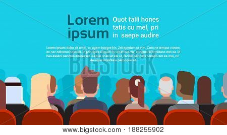 Mix Race Business People Group Sitting In Raw at Conference Meeting Training Courses Back Rear View Flat Vector Illustration