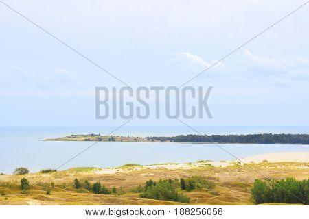 Nida - Curonian Spit and Curonian Lagoon Nida Klaipeda Lithuania. Nida harbour. Baltic Dunes. Unesco heritage