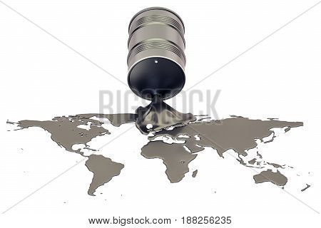 Oil production concept. Crude oil spilled in the shape of Earth map 3D rendering isolated on the white background