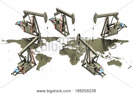 Oil production concept. Crude oil spilled in the shape of Earth map with pumpjacks 3D rendering isolated on the white background