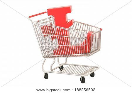 Shopping cart with litecoin symbol 3D rendering isolated on white background