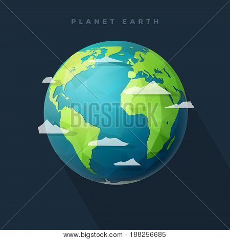 Polygonal Planet Earth western hemisphere globe with clouds