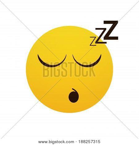 Yellow Smiling Cartoon Face Sleeping People Emotion Icon Flat Vector Illustration