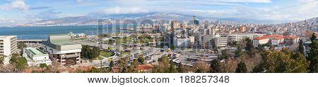 Wide Panoramic Skyline Of Izmir City, Turkey