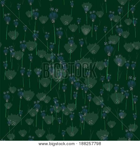 Flower Seamless Pattern Isolated on Green Background