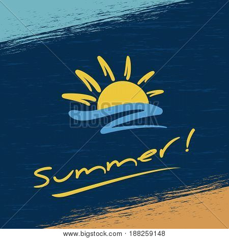 Summer grunge background. Abstract sun and beach. Vector illustration.