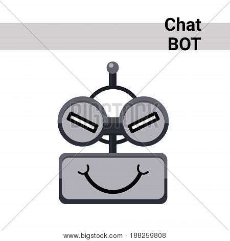 Cartoon Robot Face Cunning Cute Emotion Chat Bot Icon Flat Vector Illustration