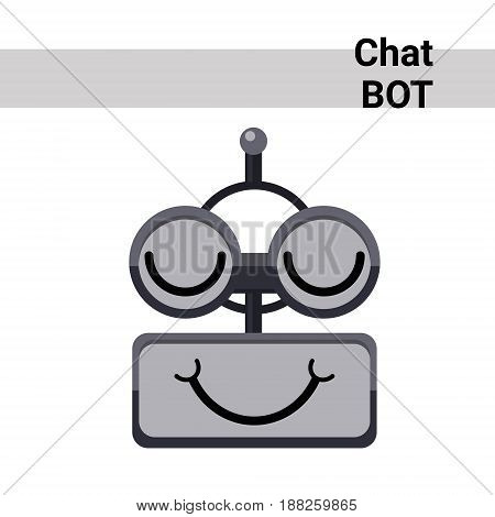 Cartoon Robot Face Smiling Cute Emotion Closed Eyes Chat Bot Icon Flat Vector Illustration