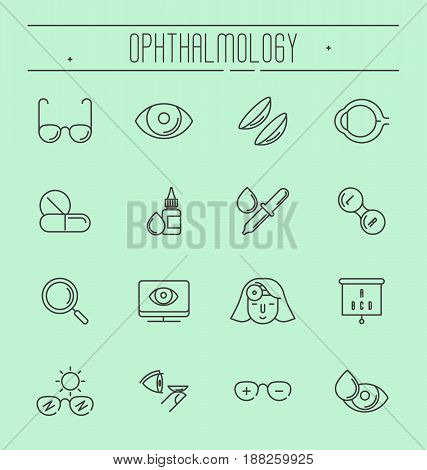 Big set of symbols of ophthalmology, vision care thin line icons. Vector illustration.