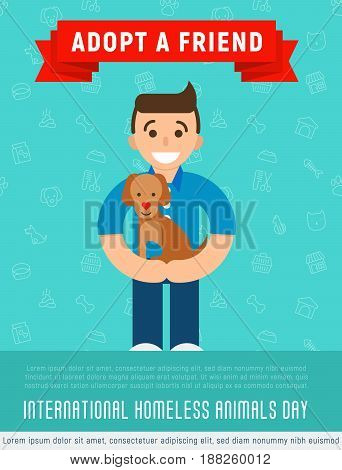 Happy man is hugging an adopted happy dog. Flat style. Vector illustration for pet adoption poster.