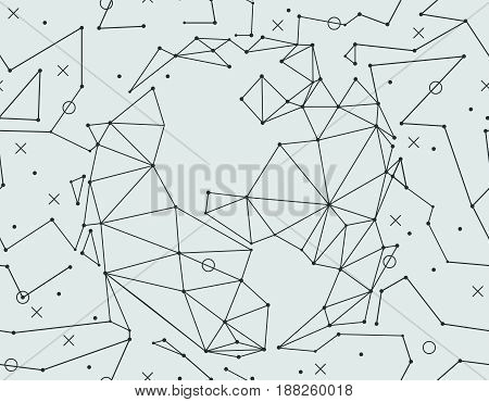 Seamless pattern with space, polygonal planets. Vector illustration