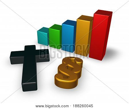 business graph with christian cross and paragraph symbol - 3d rendering